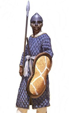 johnnylawgottagun: Angus McBride. Picture of a Nubian infantryman, 10th century AD. The shield would have been made from a tough ox hide st...