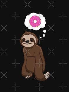 """Hungry Sloth Pink Donut"" T-shirt by jonmlam Sloth Shirt, Canvas Prints, Art Prints, Art Sketches, Donuts, Cute Animals, Sloths, Drawings, Doughnut"