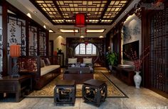 CHINESE ANTIQUE INTERIORS | picture of Chinese style living room ...