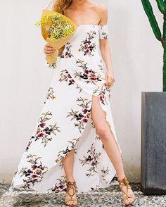 53edf553d168 Simplee Boho style long dress women Off shoulder beach summer dress new  year Vintage chifon white maxi dress vestidos de festa