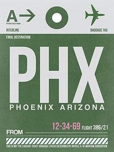 Naxart 'PHX Phoenix Luggage Tag Graphic Art on Wrapped Canvas Size: Canvas Wall Art, Canvas Prints, Art Prints, Canvas Canvas, Baggage Tag, Phoenix Arizona, Milwaukee, Custom Framing, Green And Grey