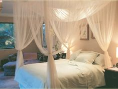 4 Corner Post Bed Canopy Mosquito Net Full Queen King Size Netting Bedding White #Unbranded