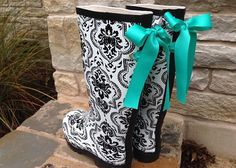Black and White Damask Gloss Rain Boots with by PuddlesNRainBows, $82.00