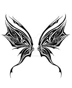 Tribal Faerie Design by ash-night-k on DeviantArt Dope Tattoos, Badass Tattoos, Pretty Tattoos, Body Art Tattoos, Tribal Tattoos, Small Tattoos, Tribal Butterfly Tattoo, Butterfly Stencil, Crow Tattoos