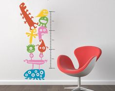 Children's Growth Chart with Little Monsters Wall by DecalLab