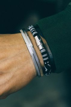 I could rock these bracelets all day, every day. #men'sjewelry #MensFashionRock