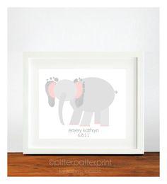 Elephant Pink Gray Nursery Art - Baby Footprint Nursery Decor - Animal Safari Nursery Wall Art - Jungle Nursery. $35.00, via Etsy.