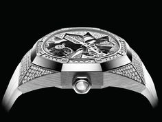 The new Royal Oak Concept Flying Tourbillon. The openworked snowflake barrel echoes diamond ice on the flying tourbillon. - Ref. Luxury Watches, Rolex Watches, Diamond Ice, Audemars Piguet Royal Oak, Snowflakes, White Gold, Gems, Concept, Photo And Video