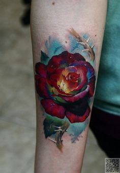 23. #Check out the Colors - 30 #Flower Tattoos That Will Make You Want Some New Ink ... → #Fashion #Flowery