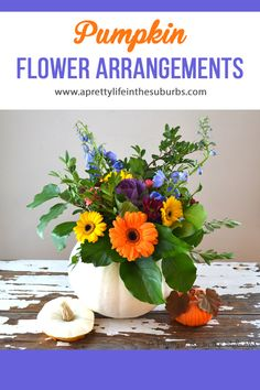 Pumpkin Flower Arrangements are a simple and beautiful DIY project! And they make a beautiful centrepiece! Fall Mums, Canadian Thanksgiving, Thanksgiving Decorations, Thanksgiving Ideas, Pumpkin Flower, Simple House, Decorating Tips, Floral Arrangements, Fall Decor