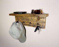 Rustic Key Holder w/Shelf by HomesteadTraditions on Etsy