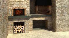 Barbacoas de obra   Chimeneas Pio Outdoor Kitchen Patio, Bbq Kitchen, Outdoor Oven, Outdoor Barbeque, Barbecue, Chimnea, Yard Design, Firewood, Farmhouse Style