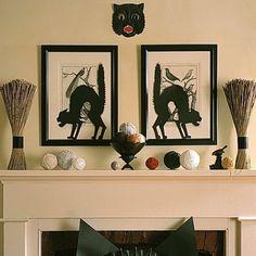 Deko-für Kamin-Halloween Bilder-Schwarze Katze-Bilderrahmen