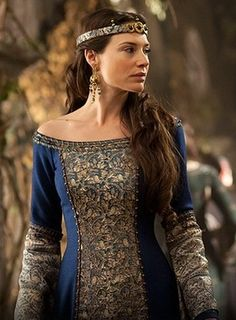 British actress Claire Forlani as Queen Igraine in Camelot, a historical-fantasy-drama television series which premiered on 1 April 2011.