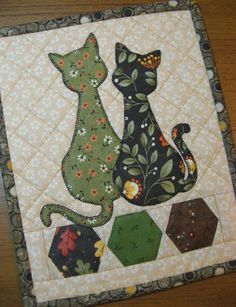 (7) Name: 'Quilting : Calico Cats Mug Rug