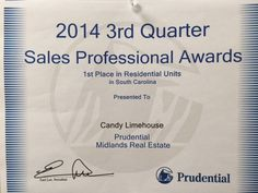 JUST AWARDED #1 IN GROSS COMMISSION INCOME AND #1 IN RESIDENTIAL UNITS SOLD FOR PRUDENTIAL REAL ESTATE FOR THE STATE OF SOUTH CAROLINA. THANK YOU TO ALL MY AMAZING CLIENTS FOR SUPPORTING MY BUSINESS. I CAN'T REACH THESE GOALS WITHOUT YOU!