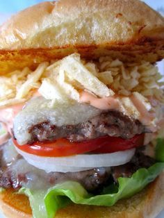 Colombian Burger... the best thing I've ever tasted! Here's the recipe = )