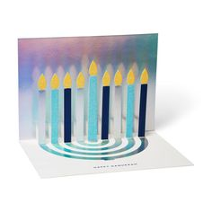 Hanukkah Menorah Holiday Cards - Set of 8 in color Hanukkah Menorah, Hannukah, Happy Hanukkah, Pop Up Greeting Cards, Pop Up Cards, Modern Desk Accessories, Triangle Bag, Holiday Pops, Blue Envelopes