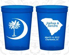 Palmetto Tree Cups, Personalized Stadium Cups, Crescent Moon, South Carolina Palmetto, Palmetto Moon, Plastic Party Cups (75)