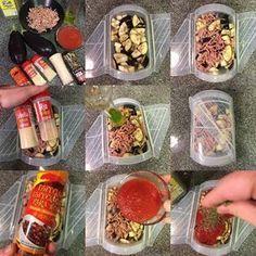 Boloñesa de pollo y berenjena al microondas