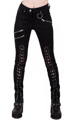 Killstar Mazzy Lace-Up broek zwart Punk Outfits, Gothic Outfits, Girl Outfits, Fashion Outfits, Punk Fashion, Gothic Fashion, Womens Fashion, Rider Boots, Estilo Rock