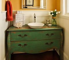 Green dresser used as bathroom vanity Primitive Bathrooms, Rustic Bathrooms, Small Bathroom, Bathroom Ideas, Basement Bathroom, Master Bathroom, Bath Ideas, Refurbished Dressers, Old Dressers