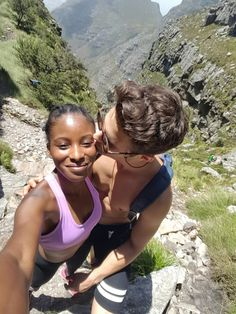 2oceansmeet:  Loving this girl more every single day! This is a selfie from halfway up table Mountain. We were both so happy and excited to reach the top After a 2h hike/rockclimb      More pictures here : http://whiteboysdatingblackgirls.tumblr.com/