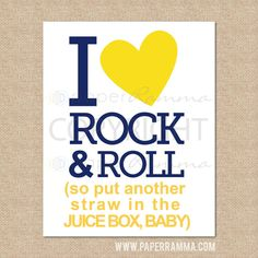 I Love Rock N Roll Art Print // Rock and Roll by PaperRamma, $18.00
