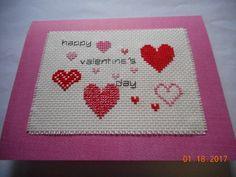 cross stitch Valentine card in etsy shop DebbyWebbysCards