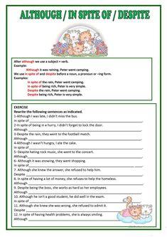 ALTHOUGH, DESPITE & IN SPITE OF worksheet - Free ESL printable worksheets made by teachers