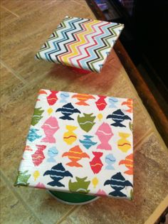 Homemade coasters!!!!!! Cheap tile, Scrap book paper , modge podge and felt furniture pads for the back :))))) customize with fun paper or napkins!