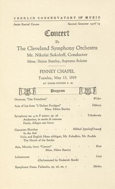The Cleveland Orchestra has been playing concerts at the Oberlin Conservatory of Music since 1919. The Orchestra has performed at Oberlin every year since 1919, including several times each season in the first half century.