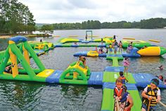 Inflatable playground on a lake.