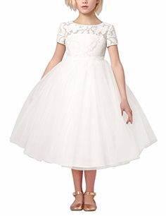 FEESHOW Girls Kids Lace Crochet Flower Hollow Back Princess Wedding Party Dress White 4 * You can get more details by clicking on the image.