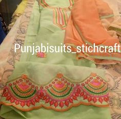 Needs a try Embroidery Suits Punjabi, Hand Embroidery Dress, Embroidery Suits Design, Embroidery Fashion, Embroidery Designs, Pakistani Fashion Party Wear, Salwar Suits Party Wear, Ethnic Suit, Boutique Suits