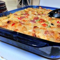 This hearty casserole has bacon, eggs, hash browns, and three different cheeses all baked into a comforting breakfast dish, perfect for feeding a crowd.