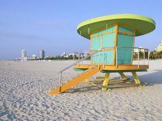 Art Deco Style Lifeguard Hut, South Beach, Miami Beach, Miami, Florida, USA Photographic Print by Gavin Hellier at AllPosters.com