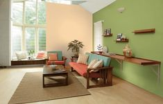 Asian Paints Colour Combination for Indian Homes -- Our Favourites! - Bhavya Sharma - 10 Asian Paints Colour Combination for Indian Homes -- Our Favourites! Our Favourite Asian Paints Colour Combination for Indian Homes Wall Paint Colour Combination, Living Room Color Combination, Living Room Color Schemes, Bedroom Wall Paint Colors, Wall Painting Living Room, Paint Colors For Living Room, Colour Combinations Interior, Asian Paints Colours, Inspiration Wand