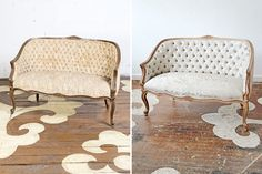 This pretty settee is from our Annex inventory -- much of its beauty was hidden under a speckled and dated finish which our client asked us to sand away. The beautiful silver textile is from Rubelli, and the deep tufts are done without buttons. Furniture, Vintage Settee, Upholstered Couch, Love Seat, Vanity, Vanity Bench, Home Decor, Upholstery, Couch