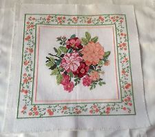 COMPLETED NEEDLEWORK FLOWER COLLECTION WITH NEEDLEWORK BORDERS