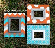 set of three distressed frames orange, turquoise, gray and white --chevron, polka dot  star chain on Etsy, $145.00