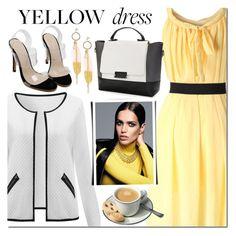 """NEWCHIC dress"" by mada-malureanu ❤ liked on Polyvore featuring Ÿù, yellowdress and newchic"