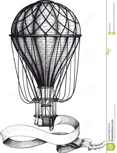 Uitstekende Hete Luchtballon Met Banner Vector Illustratie - Afbeelding: 43295730