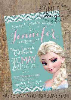 Frozen Invitation - Frozen Birthday Party  - Printable Frozen -  Frozen Birthday - Digital Invite, Elsa, Anna, Teal, Pink, Glitter, Chevron by OmbreDesigns on Etsy https://www.etsy.com/listing/222728661/frozen-invitation-frozen-birthday-party