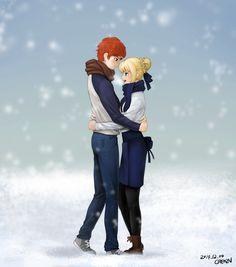 Saber/Shiro in the snow : Saber Saber X Shirou, Shirou Emiya, Fate Stay Night Series, Fate Stay Night Anime, Fate Archer, Arturia Pendragon, Kirito Asuna, Fate Anime Series, Anime Couples Manga