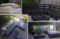 Ceate outdoor furniture out of old wooden palets, buy some cushions and voila! :)