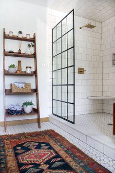 Shower door from Lowes!! Modern Vintage Bathroom Reveal - brepurposed