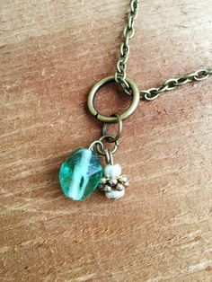 Upcycled Charm Necklace with Green Glass Beads by Five17Designs