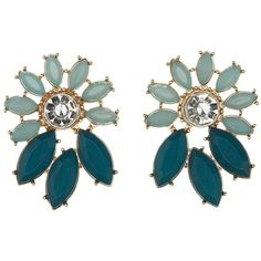 Charlotte Russe Faceted Stone Statement Earrings ($6) ❤ liked on Polyvore featuring jewelry, earrings, turquoise, leaf jewelry, flower earrings, sparkle jewelry, flower jewelry and leaves earrings