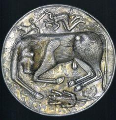 Gundestrup Cauldron - base. First century B.C.E. Silver partially gilded. Copenhagen, Nationalmuseet